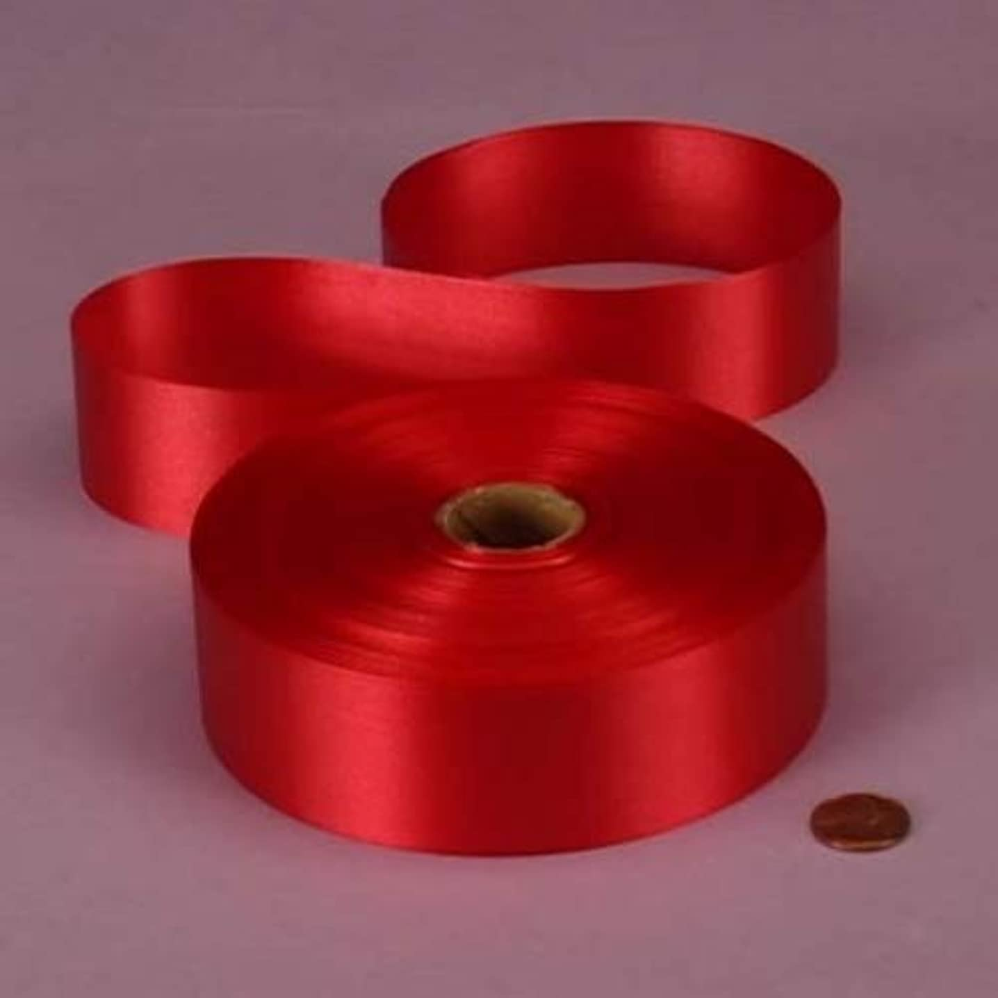 Red Embossed Poly Satin Ribbon, 4433730 by Paper Mart
