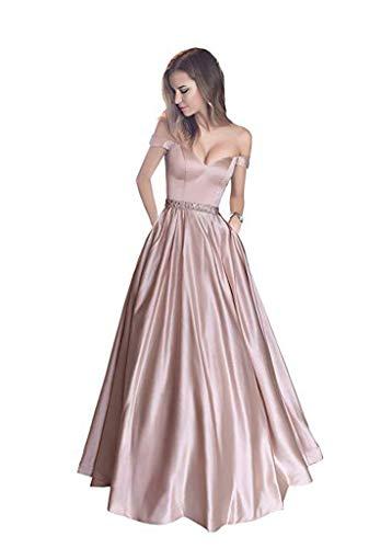 YUAKOU Damen Satin Abendkleid A-Linie Lange Brautjungfernkleid V Ausschnitt Ballkleid