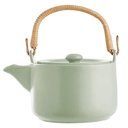 Teekanne 1L aus Steingut mit Bambus-Henkel, Teekessel Teebereiter Kanne mit Deckel, Farbe:Mint