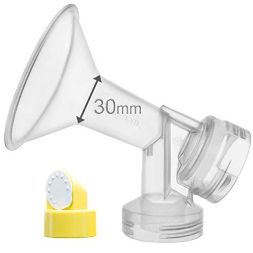 30 mm de una pieza extra para senos grande w / válvula y membrana para extractores de leche Medela; comparar a Medela 30 mm (X-Large) Personal Fit Shield mama y PerosnalFit Conector; Hecho por Maymom BN.
