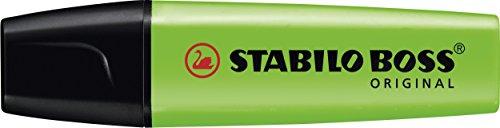Marcador fluorescente STABILO BOSS Original – Caja con 10 unidades – Color verde