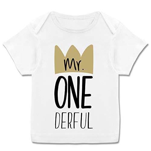 Geburtstag Baby - Mr One Derful - 80-86 - Weiß - Junge Shirt Onederful - E110B - Kurzarm Baby-Shirt für Jungen und Mädchen