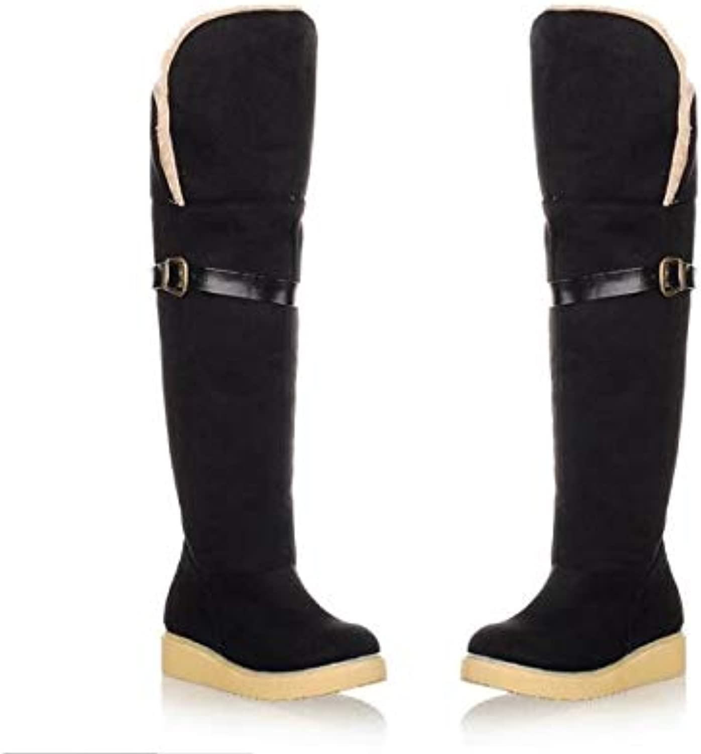 Top Shishang Winter Warm Lined mid-Waist Snow Boots Thick Casual Belt Buckle Martin Boots Female