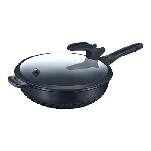 SMEJS POÊLON avec Couvercle, antiadhésif Poêle avec Couvercle intérieur sans fumée Pan Batterie de Cuisine Couvercle Wok (Size : 28cm)