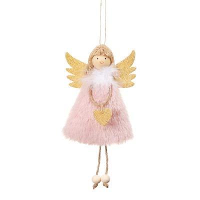 AQZMEA Weihnachtsdekorationen Anhänger Weihnachten Süße Liebe Plüsch Feder Engel Weihnachtsbaum Kreative Anhänger 17x10cm Rosa Plus Liebe Engel Anhänger
