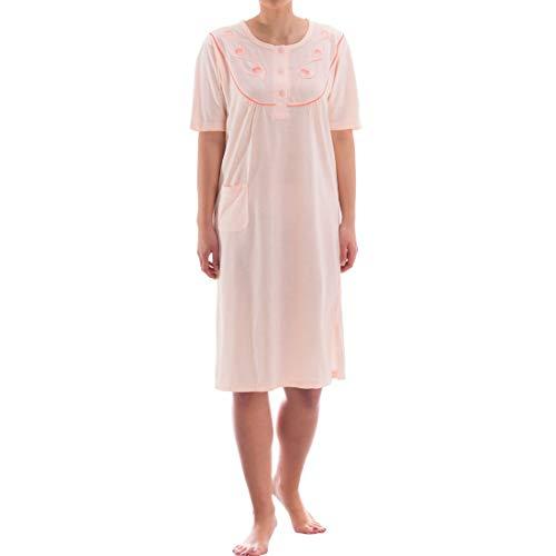 Zeitlos Nachthemd kurzarm einfarbig mit Tasche (M, apricot)