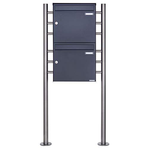 2er Standbriefkasten - 2 fach Briefkastenanlage Design BASIC 381 - Briefkasten Manufaktur Lippe (2 Parteien, senkrecht, RAL 7016 anthrazitgrau feinstruktur matt)