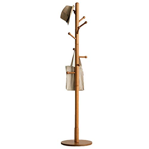 Kapstok van massief hout, garderobestandaard voor slaapkamer, eenvoudige garderobe met stang, voor woonkamer, hal, creatieve kapstok (bruin)