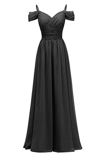 YORFORMALS Women's Off The Shoulder Pleated Chiffon Bridesmaid Dress Formal Evening Party Gown with Pockets
