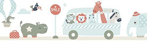 lovely label Bordüre selbstklebend Tiere ON Tour BEIGE/Mint/ROT - Wandbordüre Kinderzimmer/Babyzimmer mit Tieren - Wandtattoo Schlafzimmer Mädchen & Junge – Wanddeko Baby/Kinder