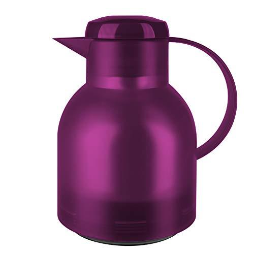 Emsa Samba Isolierkanne 507075 | 1 Liter | Quick Press Verschluss | 100% dicht | 12h heiß, 24h kalt | Himbeer Transluzent