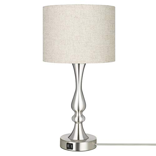 DEWENWILS Dimmable Modern Table Lamp with 2 USB Ports, Fabric Lampshade, Touch Control Bedside Lamp for Living Room, Bedroom, Office, 7W 2700K LED Bulb Included, Nickel Finish