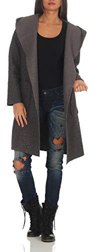 Malito Damen Wollmantel kurz | Boucle Wool | Trenchcoat mit Gürtel | weicher Dufflecoat | Parka - Jacke 9320 (dunkelgrau)