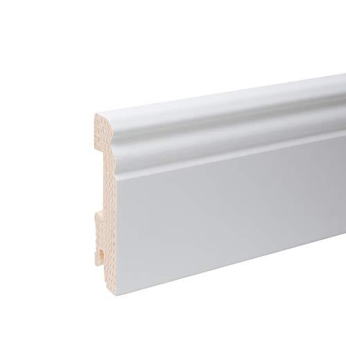 Plinthe en bois véritable profil Berlin 80 x 20 x 2.400 mm opaque blanc laqué RAL 9011