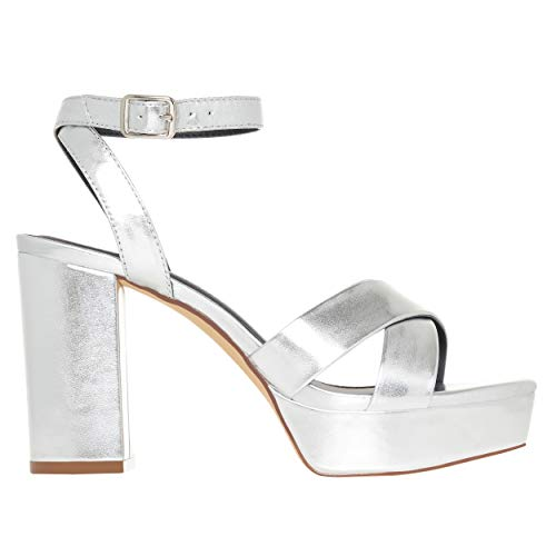 Rohb by Joyce Azria Kiara Women's Platform Open Toe Casual/Occasion/Wedding High Heels with Ankle Strap (Silver Vegan Leather) Size 7