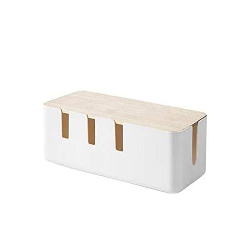 SMEJS Caja de almacenamiento de cables, caja de almacenamiento de cables de la placa de alimentación, toma de cargador a prueba de polvo, caja de administración de cables, caja de almacenamiento de es