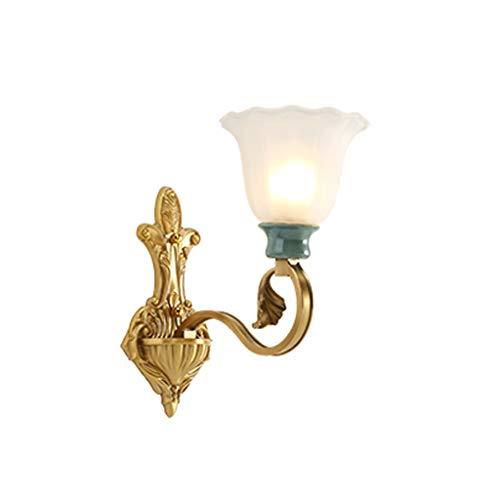 Lámpara de Pared Lámpara de Pared de cerámica Retro Europea de Cobre Lámpara de Pared de Sala de Estar Americana Dormitorio cálido TV de cabecera Luces de Pared