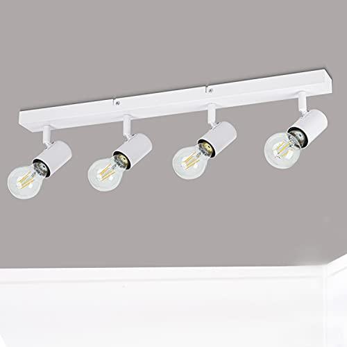 Dehobo Lampara Techo 4 Focos e27 Ajustable, Lamparas Focos de Techo Blanco Ajustables y Giratorios Iluminación para...