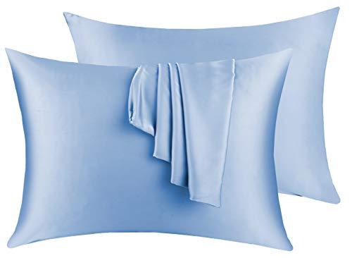 Natural Silk Pillowcase Set of 2 for Hair &Skin - Both Sides 19 Momme 600 Thread Count with Hidden Zipper (Light Blue, Standard)