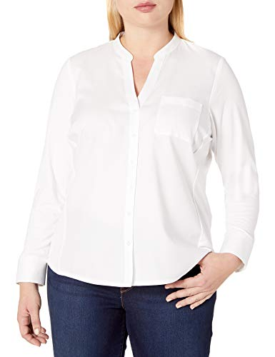 Calvin Klein Women's Plus Size Non-Iron Knit Combo Shirt, Birch, 2X