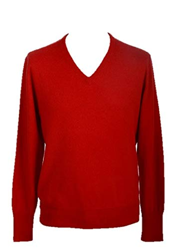 Shephe Men's V Neck Cashmere Sweater Dark Red XXX-Large