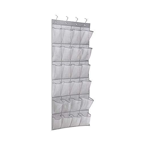 Bestine Zapatero gris (borde oscuro), organizador de zapatos sobre la puerta, 24 grandes bolsillos de malla para colgar estrecho armario de almacenamiento de puerta