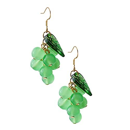Desconocido Generic Pendientes de UVA Pendientes de Fruta Realista Colgantes Pendientes de Gota de Cristal Brillante Pendiente de UVA con Hoja Verde para Mujer Verde