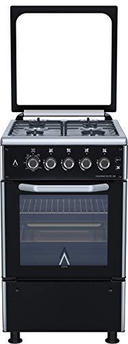 ALPHA Cocina de Gas VULCANO ELITE-50 Cristal Negro, Encendido automático. **Alta Gama**
