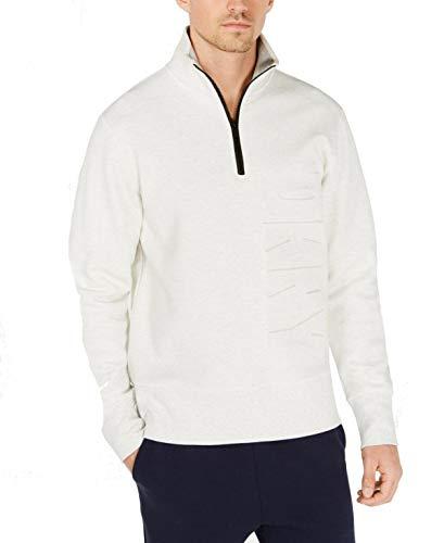 DKNY Debossed Logo Quarter Zip Sweater White 43JK999-100-L