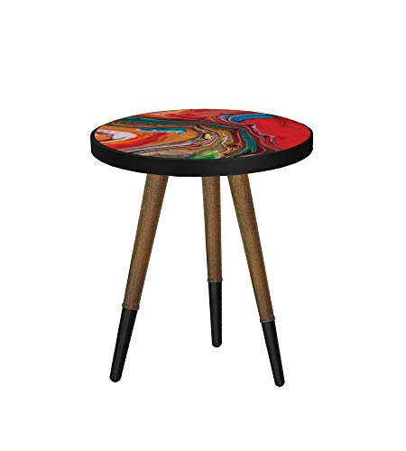 b'home Round Side End Small Table Multi-colour Wooden For Living Room (Height 50 cm, Art of Marbling)