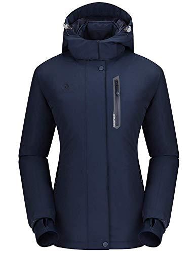 CAMEL CROWN Damen wasserdichte Wanderjacke Regenjacken Outdoor Funktionsjacke Full Zip mit Fleece-Futter, Winddichte Warmer Mantel Jacke mit Kapuze für Winterwandern Ski Sports Freizeitjacke