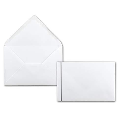 Weiße Trauerumschläge mit schwarzem Trauerstrich 50 Stück Kuverts in DIN B6 120x175 mm Nassklebung ohne Fenster für Beerdigungen, Traueranzeigen
