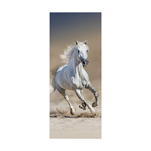 paisin Door Stickers Wallpaper Decals White Horse Galloping 3D Removable PVC Office Restaurant PVCInterior Children's Room