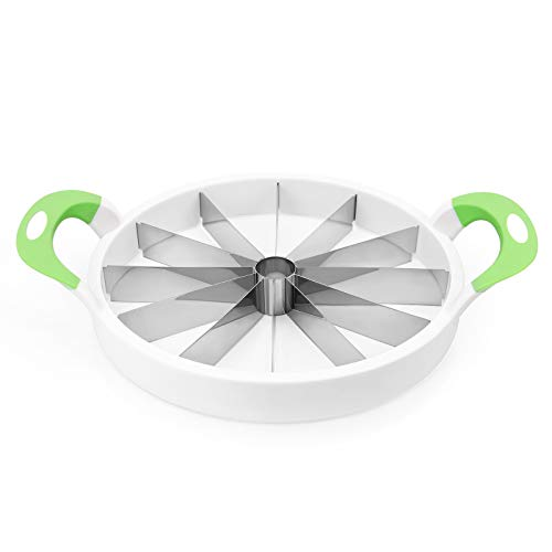 Watermelon Slicer Upgraded Version, 12-Piece Round Fruit Cutter with Nonslip Handle, 15'' Stainless Steel Fruit Corer Slicer Peeler Server for Melon, Cantaloupe, Pineapple, Apple