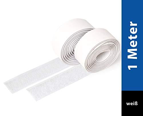 iLP Klettband Selbstklebend Weiß - 1 Meter Klebe Klettband zum Nähen - Klettverschluss Selbstklebend 20 mm Breit - Extra Stark - Je 1 Rolle Flauschband und Hakenband