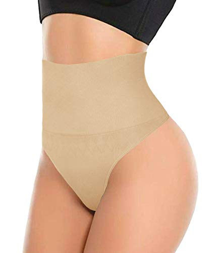 ShaperQueen 103 THONG - Women Every-Day Smooth Lower Ab Control Thong Panty (S, Nude)