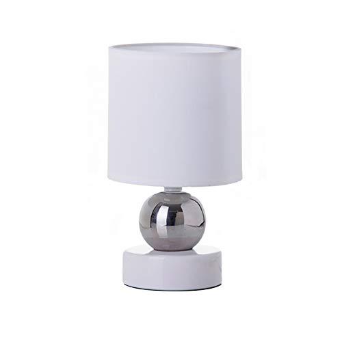 Lámpara de mesita de noche moderna de cerámica blanca de 1