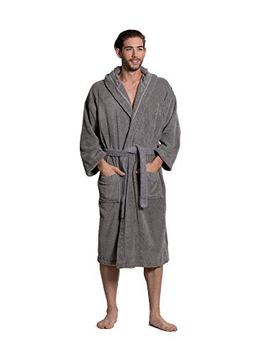Turkuoise Men's Turkish Terry Cloth Robe, Thick Hooded Bathrobe Gray