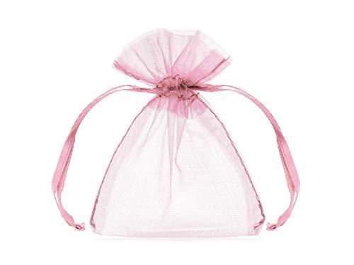 Dream' s Party 20 Sacchetti in Organza Rosa - Tulle per Confetti confettate Ideale per Regali per Nascita, Battesimo, Compleanno, Anniversario, promessa, Comunione, Matrimonio