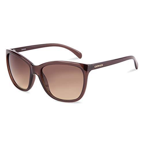 Calvin Klein Women's CK19565S Square Sunglasses, Milky Brown/Gradient Brown, 60mm,17mm,140mm