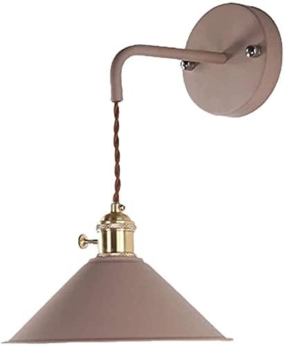 FXBFAG Lámpara de pared de hierro retro industrial, con control remoto con pilas, para interiores, inalámbrica, color caqui