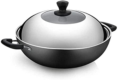 TINGFENG Wok Pan Hogar olla de hierro fundido sin recubrimiento con doble mango y tapa visible de acero inoxidable utensilios de cocina