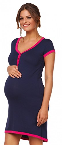 HAPPY MAMA. Damen Umstands-Nachthemd mit Stillfunktion. Stillshirt Kurzarm. 981p (Marine, 42-44, 2XL)
