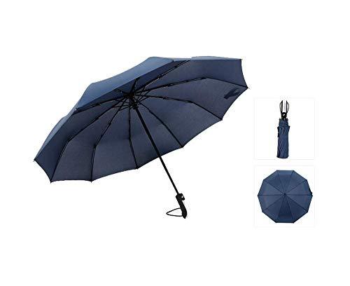 Y-S Paraguas Totalmente Automático/Tenedor Hueso/Parasol/Compacto Y Ligero/Amortiguador a Prueba de Viento 150 Km/Hora, Azul Marino, 105 cm, Armada, 105cm