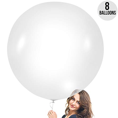 Prextex Clear Giant Balloons - 8 Jumbo 36 Inch Transparent Balloons for Photo Shoot, Wedding, Baby Shower, Birthday Party and Event Decoration - Strong Latex Big Round Balloons - Helium Quality