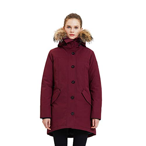 TIGER FORCE Womens Thickened Hooded Parka Coat Winter Jacket Waterproof Mountain Ski Padded Snowjacket Extremely Cold Wine