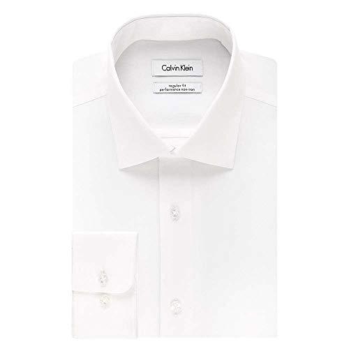 Calvin Klein Men's Regular Fit Non Iron Herringbone Spread Collar Dress Shirt, White, 16' Neck 34'-35' Sleeve