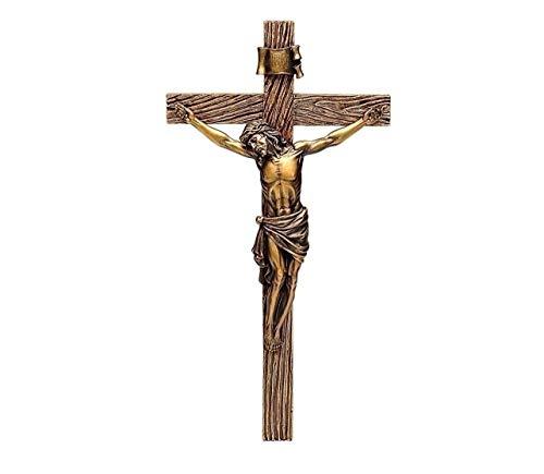 Crucifixo de parede com pedra de resina de 33 cm de bronze de crucifixo de cristal romano Jesus Cristo preso ao crucifixo