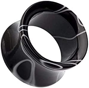 Covet Jewelry Marble Swirl Acrylic Double Flared Ear Gauge Tunnel Plug 1 25mm Black product image