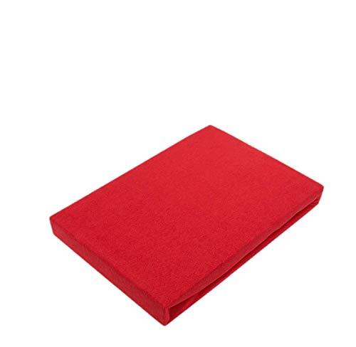 Drap-housse en jersey de qualité supérieure avec élastique, Coton, rouge, 60 x 120 - 70 x 140 cm